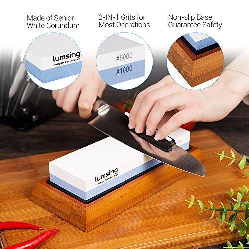 Lumsing Sharpening Stone, Knife Sharpener, Sharpener Knife Stone, Whetstone Sharpener with Non-Slip Bamboo Base & Angle Guide, 1000/6000