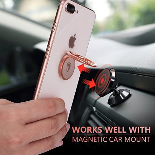 Phone Ring Holder Finger Kickstand – FITFORT 360° Rotation Metal Ring Grip for Magnetic Car Mount Compatible with All Smartphone-Rose Gold 51jle4NGuAL