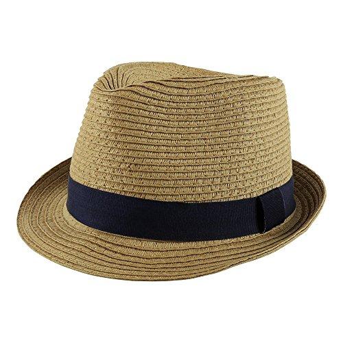 PEAK 2 PEAK Unisex Kids Straw Trilby Fedora Cap Felt Fedora Hat Short Brim Sunhat (Boys, Navy Band)
