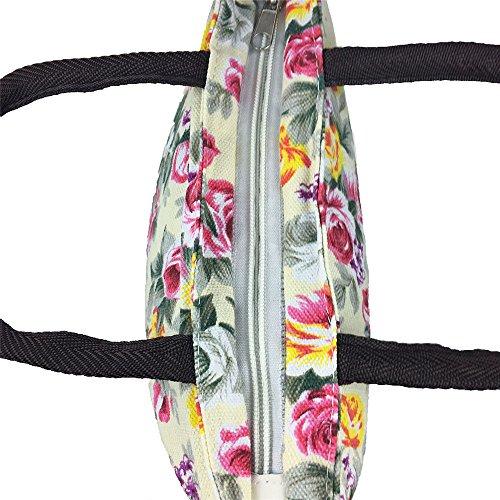 Stile Del Stampate Tote Etnico Bianco Donne Tela Shopping Bag Fiore Semplice Sacchetto 1zwxqC61