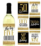 6 Premium 50th Birthday Wine Bottle Labels or Stickers Present, Bday Gifts for Her, Fifty Never Looked So Good, Funny Fifty Black & Gold Party Decorations Supplies For Friend, Wife, Girl, Mom