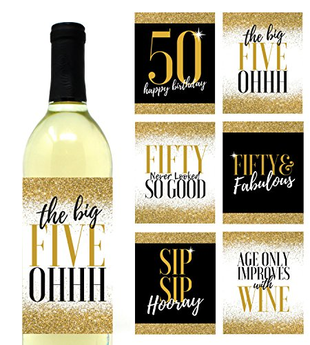 6 Premium 50th Birthday Wine Bottle Labels Or Stickers Present Bday Gifts For Her