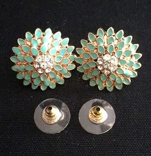 (1set Elegant Charming Blooming Green Flower Flora Rhinestone Studs Earring Jewelry)