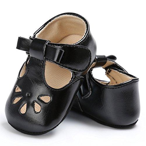 CoKate Flower Punch Squeaky Infant Boy Girl Sandals Shoes Prewalker (12-18M/5.1inch, Black) -