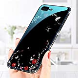 for iphone 6 Plus/6S Plus Tempered Glass Case and Screen Protector,QFFUN Glitter Crystal Diamond Frame Ultra Thin Slim Smooth Hard Back Cover Soft Silicone Bumper Protective Case with Pattern Flower