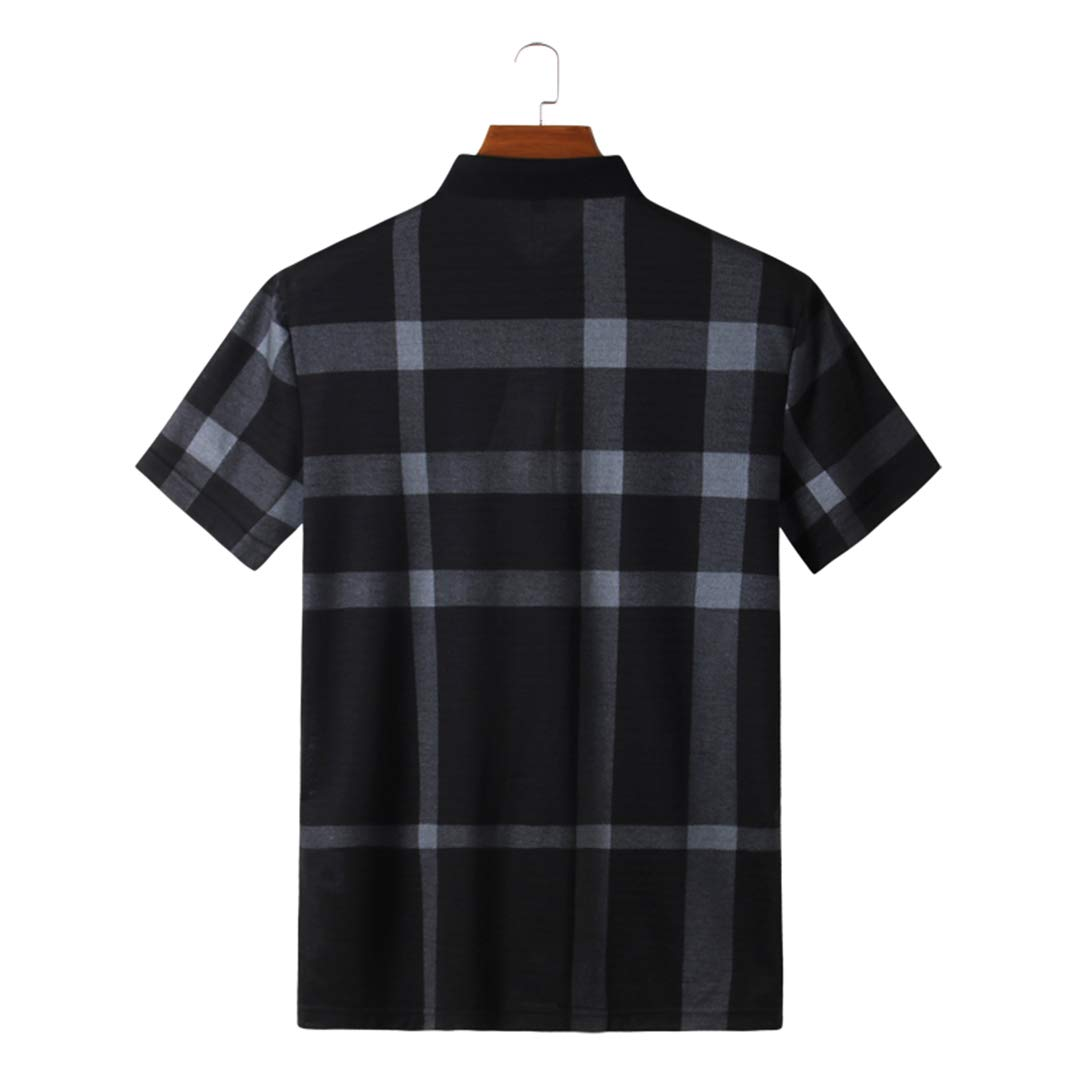 New Summer Plaid Polo Shirt Men Casual Business Short Sleeve Polos Plus Size