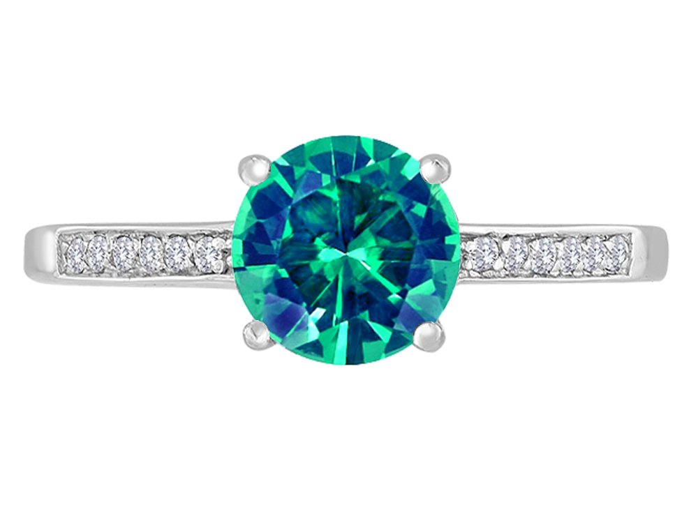 Star K Round 7mm Simulated Emerald Solitaire Ring 14 kt White Gold Size 8