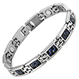 Willis Judd New Womens Magnetic Titanium Bracelet with Blue Carbon Fiber insets, packed