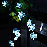 Snowflake Solar String Lights,20 ft 30 LEDs Snow Shape Solar Powered Waterproof Lamp for Indoor&Outdoor Christmas Tree Patio Gardens Home Party Decoration(White).