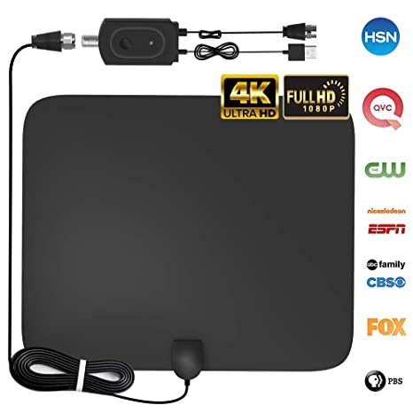 [2019 Upgraded] Hdtv Antenna, Amplified Hd Digital Tv Antenna Indoor 60 80 Mile Range High Definition With Amplifier Signal Booster For 4 K 1080 P Free Tv Local Channels, 9.8ft Coaxial Cable by Dostyle