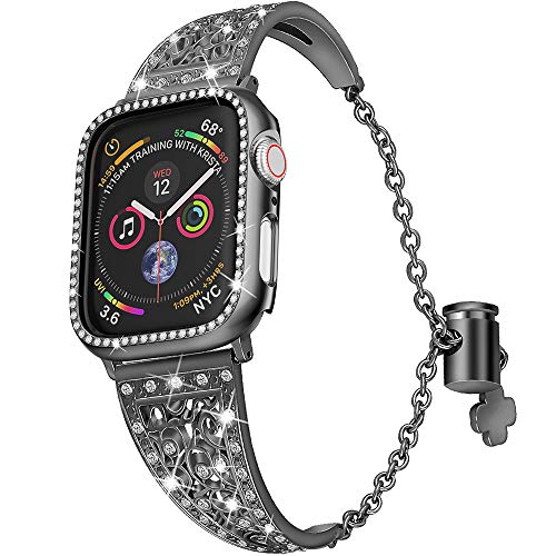 jwacct Compatible for Apple Watch Band with Screen Protector 38mm 40mm iwatch Series 4/3/2/1, Women Adjustable Stainless Steel Bracelet Bangle Jewelry with Rhinestone Crystal Case,Black ()