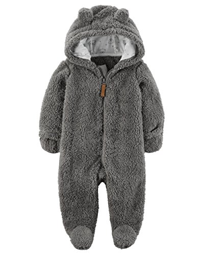 Carter's Baby Newborn-9M Hooded Sherpa Pram Sleep & Play 9 Months (Sherpa Bunting)