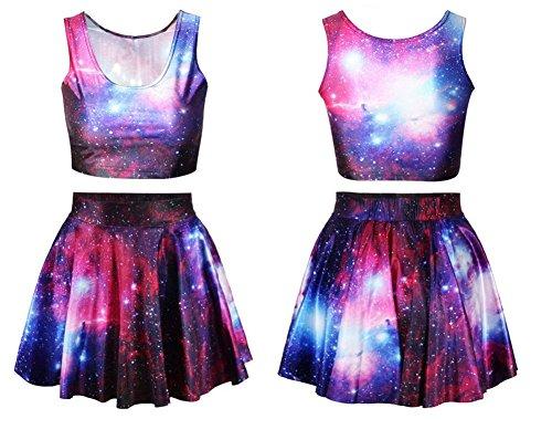 Benibos Womens Digital Print Reversible Crop Top + Skirt 2 Pieces Vintage Clubwear (Galaxy), One Size (Print Reversible Skirt)