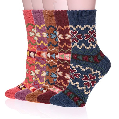 Color-City-Womens-Vintage-Style-Thick-Wool-Warm-Winter-Crew-Socks-5-Pack