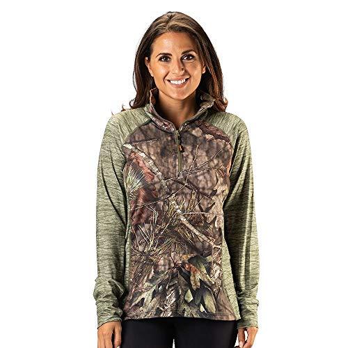 1/4 Zip Shirt Impulse - TrailCrest Ladies Mossy Oak Impulse 4 Way Stretch 1/4 Zip Performance Top, Breakup Country & Light Olive Heather, XX-Large