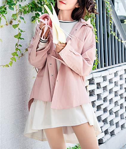 Manica Rosa Lunga Donne Jacket Casual Patchwork Corto Autunno Primavera A Cappuccio Outerwear Righe Hoodie Coat Cime Sciolto Cappotto Giacche Moda Quotidiani Vento Con Giacca Yg7nW