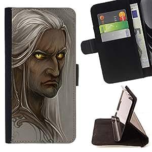 - elf grey fairytale portrait character - - Prima caja de la PU billetera de cuero con ranuras para tarjetas, efectivo desmontable correa para l Funny HouseFOR Sony Xperia Z2 D6502