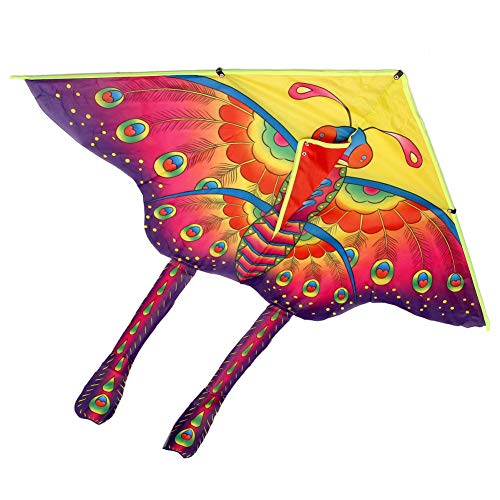 VERYNICENY Kite 9055cm Nylon Rainbow Butterfly Kite Outdoor Foldable Children's Kite Stunt Kite Surf with 60M Control Bar and Line