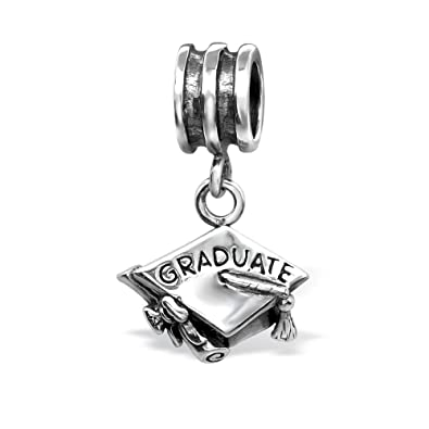 04c1cbc0d The Rose & Silver Company Women 925 Sterling Silver Dangling Graduation Hat  Bead Charm RS0605: Amazon.co.uk: Jewellery
