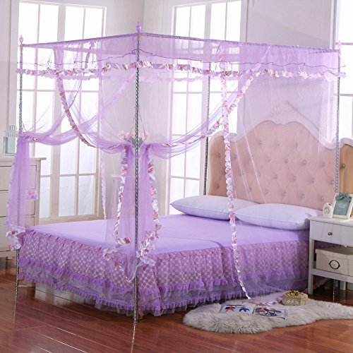 Luxury Mosquito Net Bed Canopy by JQWUPUP - 4 Corner Poster Princess Lace Netting Bedding For Girls, Toddlers & Adults - Bedroom Decor Block Insects (Queen Size, Purple) (Queen Canopy Bedroom)