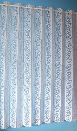 DAISY CHAIN LOUVRE BLIND CREAM LACE FLORAL NET CURTAIN DRAPE 72″X63″ Review