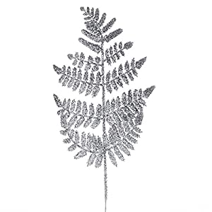 Factory Direct Craft Group of 12 Silver Glittered Artificial Fern Picks for Embellishing Florals, Centerpieces, and More 1