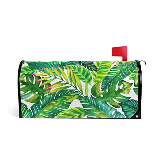 AUUXVA CUTEXL Magnetic Mailbox Covers Tropical Beach Palm Leaves Pattern Mailbox Letter Post Box Cover Wrap Garden Yard Home Decor Standard Size - Mailbox Magnetic Cover Leaves