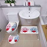 Bath mat set Round-Shaped Toilet Mat Area Rug Toilet Lid Covers 3PCS,Elephant Nursery,Pink and Blue Kid Infant Elephants Holding Hearts Smiling Twins Decorative,Pale Pink Blue White ,Bath mat set Roun
