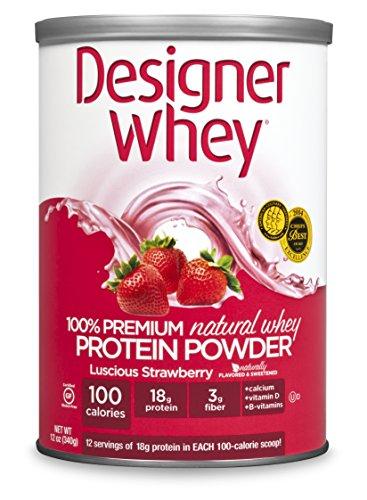 DESIGNER WHEY 100% Premium Whey Protein Powder, Luscious Fraise, 12 once traîneau