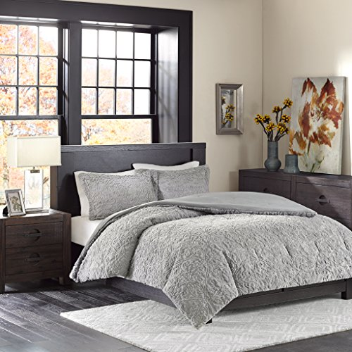 Madison Park Bismarck Twin/Twin Xl Size Bed Comforter Set - Grey, Embroidered Medallion – 2 Pieces Bedding Sets – Faux Fur Plush Bedroom Comforters - Madison Twin Comforter