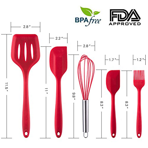 WARMWIND 5-Piece Silicone Kitchen Baking Utensil Set, Non-Stick Cooking Accessories for Baking, Slotted Spatula, Large Spatula, Small Spatula, Basting Brush, Whisk(Red) by WARMWIND (Image #1)'