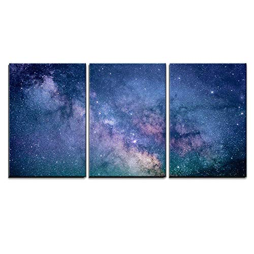 wall26 - 3 Piece Canvas Wall Art - Starry Night Sky Deep Outer Space - Modern Home Decor Stretched and Framed Ready to Hang - 24