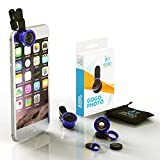GoGo Robots Camera Lenses Kit for iPhone, Android, & All Smartphones, (Blue, Fisheye, Macro & Wide Lenses Are Extremely Sturdy & Easy to Use)