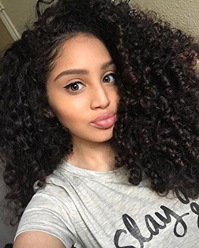 WINBOWIG- Peluca de pelo humano rizado con encaje frontal de cabello humano brasileño virgen con