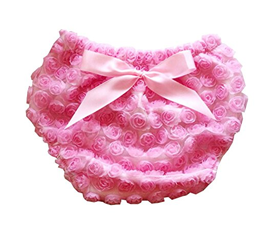 Luckyauction Baby Infant Girls Cotton Rose Bownot Panties Briefs Bloomer Pink S ()