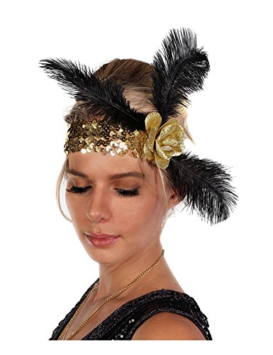 Largemouth Women's Sequin Flapper Headband With Feathers (Feather Gold Sequin)
