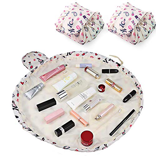 Makeup Travel Bag with Drawstring,Set of 2 Quick Pack Lazy Cosmetic Bags for Wome Girls,Portable Waterproof Make Up Brushes Bag Organizer,Large Toiletry Bathroom Storage Pouch with Zip (Lipstick)
