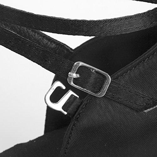 Negro para Latino HIPPOSEUS Zapatillas ESQLP1218 7CM Modelo 5CM del 7cm Mujer de Tacón Baile Altura R6nSnpqw