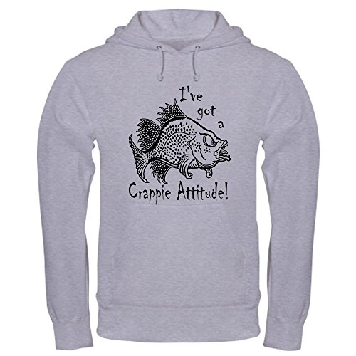 CafePress Crappie Attitude Hooded Sweatshirt Pullover Hoodie, Classic & Comfortable Hooded Sweatshirt Heather Grey ()
