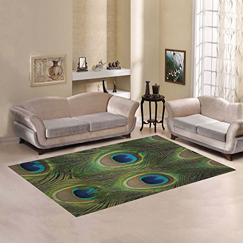- Love Nature Sweet Home Modern Collection Custom Seamless peacock feather Area Rug 7'x5' Indoor Soft Carpet