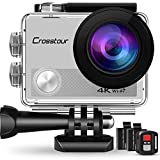 Crosstour Action Camera 4K WiFi Underwater Cam 16MP Sports Camera with Remote Control 170°Wide-Angle 2 Inch LCD Plus 2 Rechargeable 1050mAh Batteries and Mounting Accessories Kits (Silver)