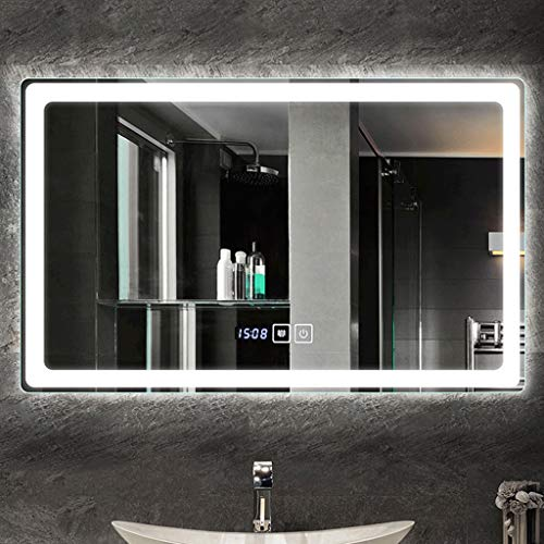 JKFZD 50x70cm Rectangle Wall Mounted Makeup Mirror with Demister Illuminated LED Bathroom - Illuminated Bathroom Sensor Demister Led Mirrors