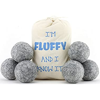Wool Dryer Balls 6 Pack-XL 100% Organic, Natural, Non-Toxic Handmade Felt Laundry Balls by Feeling Fluffy-Reusable Anti Static Fabric Softener-Eco Friendly Hypoallergenic New Zealand Wool Dryerballs