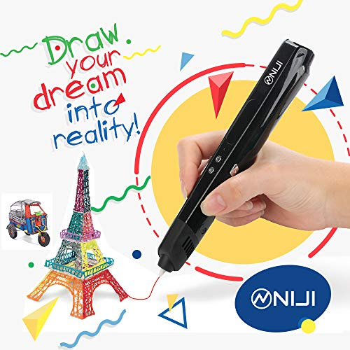 3D Printing Pen Kids Printer with LCD Screen | Professional Grade for Kids and Adults | Safe to Make Doodles, Arts, Crafts | USB Power Supply Niji Global USA Brand ()