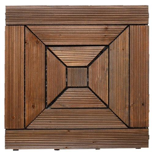 ウッドタイル【45cm幅21枚セット】No.9(四角×DBR) B00EPXVLGA ダークブラウン-四角