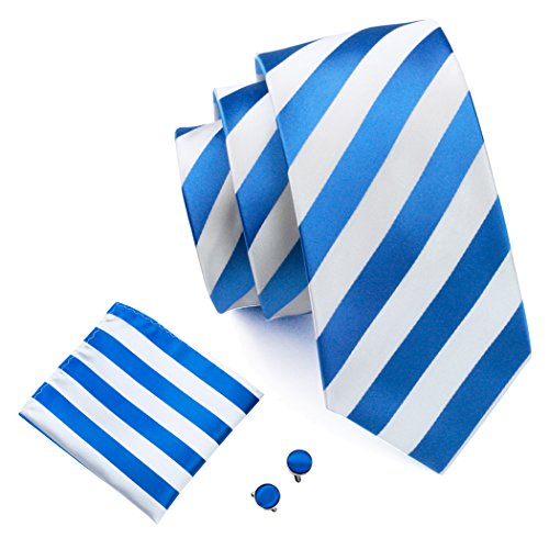 Barry.Wang Blue and White Ties Silk Stripe Tie Set Business ()