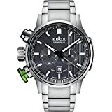 Edox Men's 10302 3MV GIN Chronorally Analog Display Swiss Quartz Silver Watch