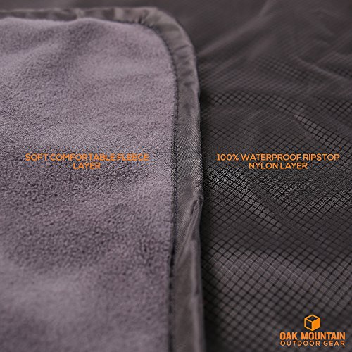 Oak Mountain Premium Stadium Blanket, Waterproof, Windproof, Fleece, for Outdoors, Sports, Picnics, Concerts, Camping, Includes Shoulder Style (w/Handle) Carrying Bag, 58 x 84