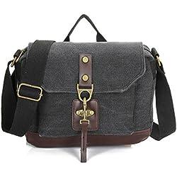 FTSUCQ Unisex Canvas Totes Shoulder Student School Bags Handbags Hobos Black Satchels