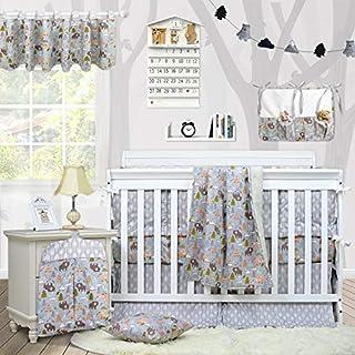 Brandream Baby Boys Bedding Woodland Crib Bedding Sets with Bumpers Bear Fox Arrow Nursery Bedding Set Grey 11 Pieces, 100% Hypoallergenic Cotton
